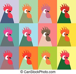 Pop art portrait of twelve multi-colored roosters vector. Roosters vector. The patchwork or quilt. Quilt pattern vector.