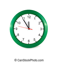 Twelve o'clock on wall watch isolat