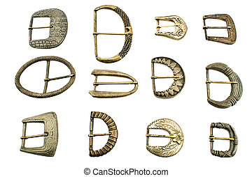 Twelve old belt  buckles