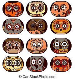 Twelve owl faces in oval shapes