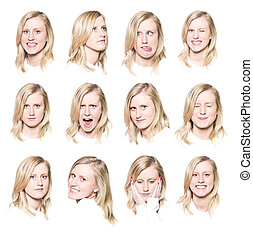 Twelve portraits of a young woman with different facial...