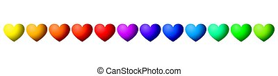 Twelve rainbow colored hearts in a row