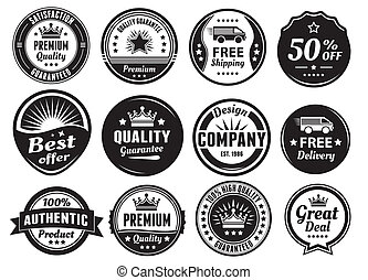 Twelve Scalable Vintage Badges - Twelve scalable badges in...
