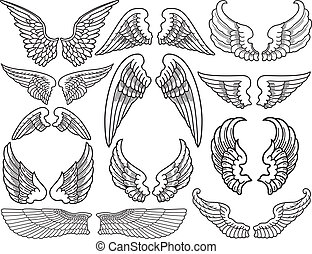 Angel Wings - Twelve Sets of Black and White Angel Wings