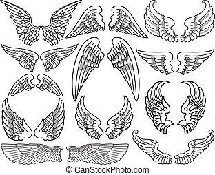 Angel Wings - Twelve Sets of Black and White Angel Wings