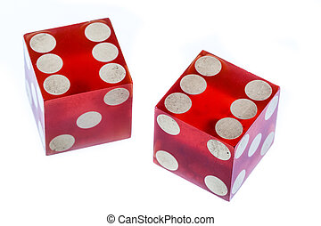 two red clear plastic dices isolated over white