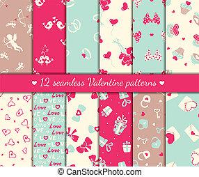Twelve valentines day seamless patterns. Vector illustration