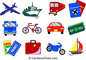 Twelve vector travel icons, also available as buttons.