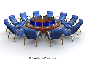 Twelve workplaces behind a round table. 3D image.