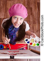 Twelve year old girl studying in the school of art