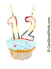 Twelveth birthday cupcake with blue frosting on a white...