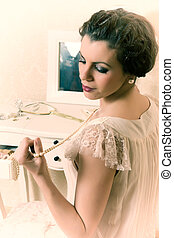 Twenties boudoir woman