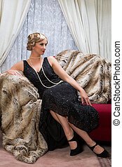 Twenties lady - Color photo with reenactment of a vintage...