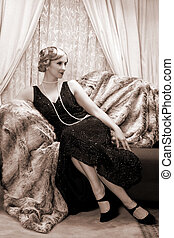 Twenties lady - Reenactment of a vintage scene with a lady...