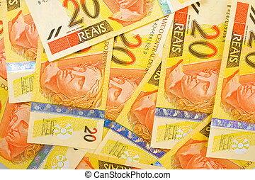 Twenty Brazilian Real Currencies Background .