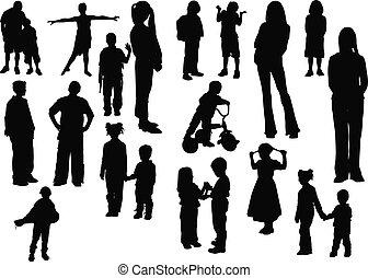 Twenty children  silhouettes. Vector illustration