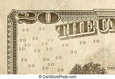 Twenty Dollar Bill - A close up on a twenty dollar bill. ...