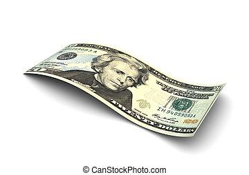 Twenty Dollar Bill isolated on white background