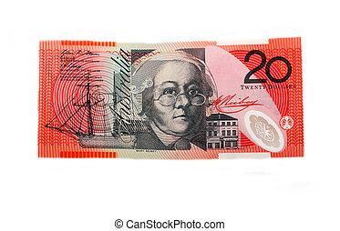 Twenty dollar bill, isolated on white
