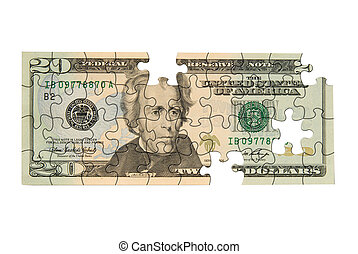Twenty dollar bill with pieces missing isolated over white