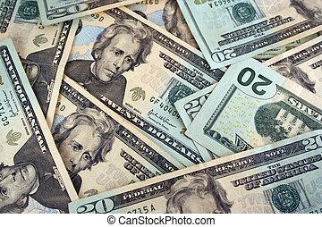 Twenty Dollar bills backg