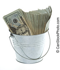 Twenty Dollar Bills in Silver Bucket - US Currency Twenty...