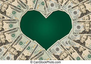 Love of Money - Twenty dollar bills in the shape of a shape,...