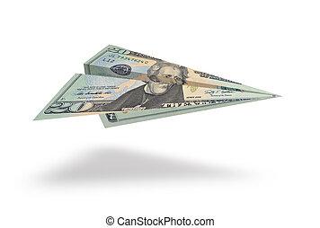 Twenty dollar plane isolated on white background