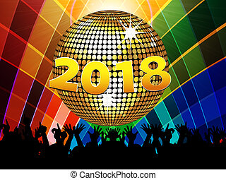 Twenty Eighteenth 2018 disco ball and crowd on multicoloured...