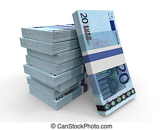 Twenty euro banknotes background.