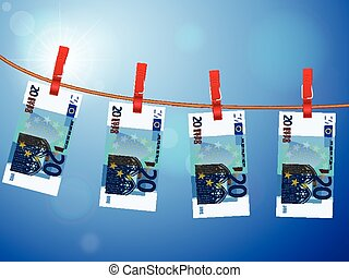 twenty euro banknotes on clotheslin