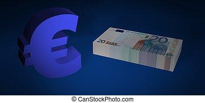 Twenty EURO stack