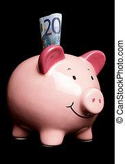 Twenty euros in a piggy bank