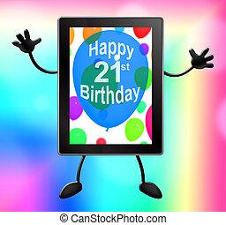 Twenty First Birthday Shows 21st 3d Illustration Tablet