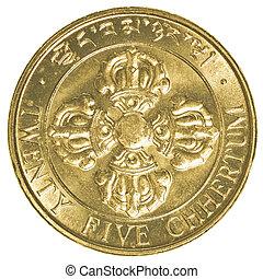 twenty five Bhutanese chhertum coin isolated on white ...