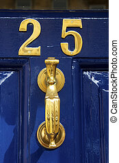 Twenty five - Brass number 25 with big knocker on painted ...