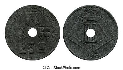 twenty five centimes, Belgium, 1946
