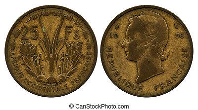 twenty five francs CFA, 1956