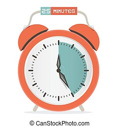 Twenty Five Minutes Stop Watch - Alarm Clock Vector Illustration