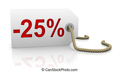 Twenty five percent discount - White tag with twenty five...