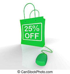 Twenty-five Percent Off Bag Represents Online Shopping 25 ...