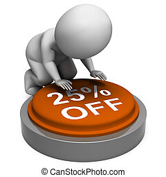 Twenty-Five Percent Off Button Means 25 Reduced Price