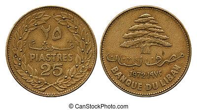 twenty five piastres, Lebanon, 1972