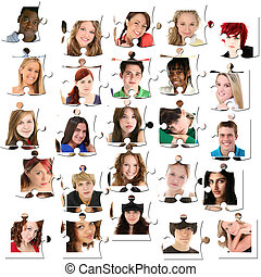 Twenty-Five Teen Faces on Puzzle Pieces - Variety of teens,...