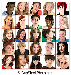 Variety of teens, twenty-five faces, of young people ages 16-18.