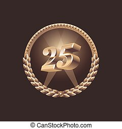Twenty five years anniversary celebration design. Golden...