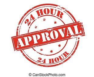 Twenty four hour approval - Rubber stamp with text twenty...