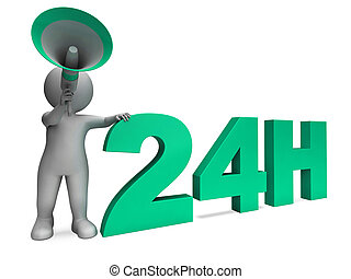 Twenty Four Hour Character Shows 24h Open All Day Service -...