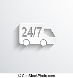 twenty four hour delivery web icon. - twenty four hour...