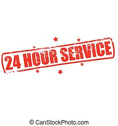 Twenty four hour service - Rubber stamp with text twenty...